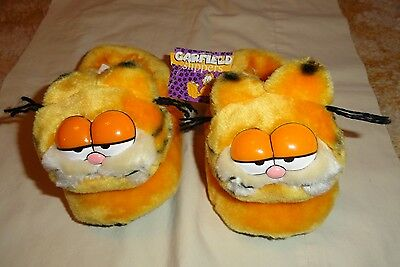 Plush Stuffed Garfield Cat Face House Shoes Slippers Childrens Size 11-12 NIB