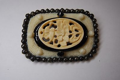 Antique  Victorian Carved Plastic Celluloid/ Steel  Beads  Mourning Brooch