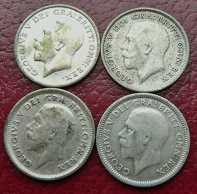 GEORGE V SILVER BRITISH 1924-1927 LOT OF 4 SILVER 6d SIXPENCE COINS - SEE!