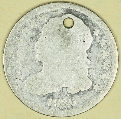 1836 Capped Bust Dime Holed