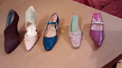 "Five Collectible Miniature Shoes ""Just the Right Shoe"" (Not boxed)"