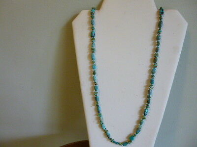 Unique Blue Turquoise Nugget With 925 Silver Native Southwestern Style Necklace