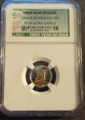 1994 Isle of Man 1/10th Proof GOLD Noble!  Very Rare!  NGC PF69!