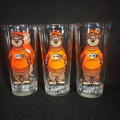 """Vintage A & W Root Beer Soda Glasses """"The Great Root Bear"""" - Rare 3 Total"""