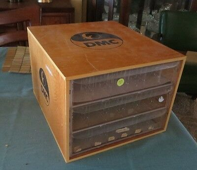 DMC Horse Floss Embroidery Wood Cabinet 3 Drawer w Trays France Storage Display
