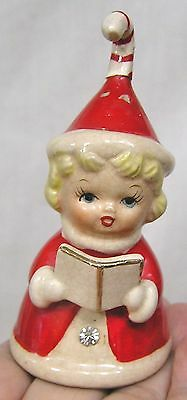 Vintage Christmas Figural Bell Ornament Girl Holds Hymnal Red Suit