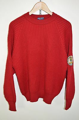 """vtg 70s 80s Fred Perry CASUALS CHUNKY RIBBED KNIT CREW NECK JUMPER - 38"""" MEDIUM"""