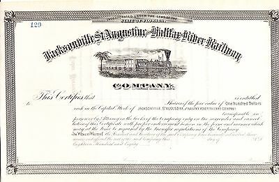 Jacksonville. St. Augustine & Halifax River Ry. Stock Certificate  - 1880's