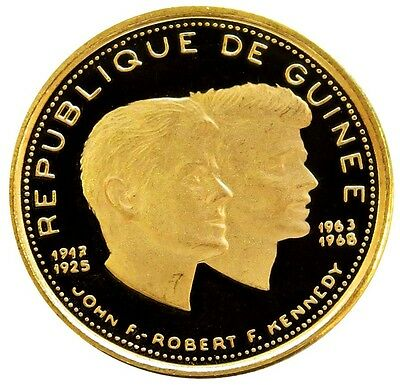 1970 Gold Guinea 1000 Francs John & Robert Kennedy Coin Proof Condition