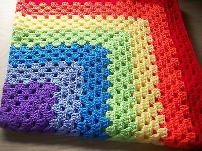 Baby blanket crochet.Rainbow colours. Suitable for pram, car seat, crib.