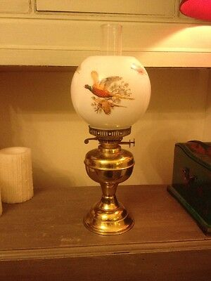 vintage Brass Oil Lamp With Pheasant Glass Shade