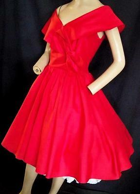 """1950's-1980'S VINTAGE RED SILK? VERY  FULL DRESS  VALENTINES, PROM - 36"""" BUST"""