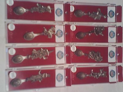 The WIZARD OF OZ LOT (8) GENUINE PEWTER COLLECTOR SPOONS CIRCA 2000 BAUM RARE! +