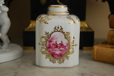 Wonderful Old Dresden Pink Grisaille And Gold Decoration Porcelain Box Tea Caddy