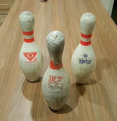 Ten pin bowling pins x3 (used vintage shabby chic)