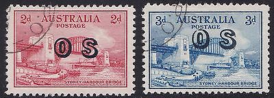 Stamps Australia - 1932 CTO Sydney Harbour OS x 2  - Mint Hinged.