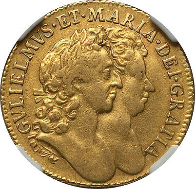 Great Britain 1689 William & Mary gold Guinea NGC VF-35