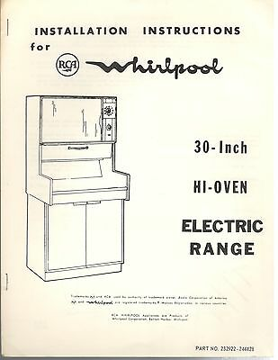 Vintage 60s 70s RCA Whirlpool 30-Inch Hi-Oven Electric Range Installation Guide
