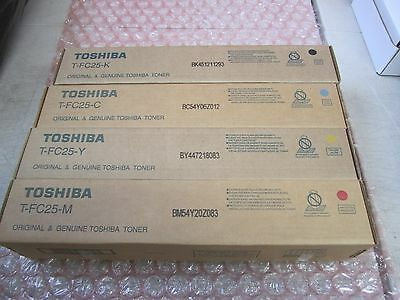 Toshiba T-Fc25 Complete Toner Set Blk Magenta Cyan Yellow New Sealed See Photos