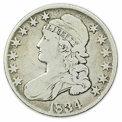 1834 Large Letters Large Date Capped Bust Half Dollar Silver Coin [3000.11]