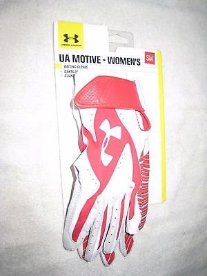 NWT Under Armour Women's Batting Gloves Red & White Size SM