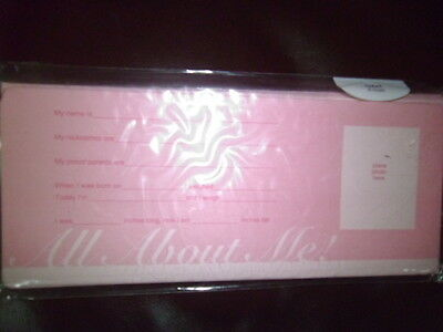 Pink Girl Birth Announcements; All About Me;8 Notes And Envelopes;american Greet
