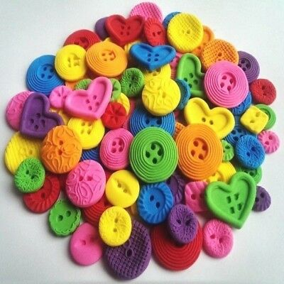 100 Edible sugar paste buttons bright colours cake cupcake toppers decorations
