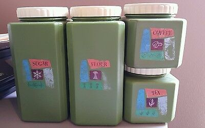 Avocado Green Plastic Canisters Containers 70's Bee Plastics Flour Sugar Set VTG