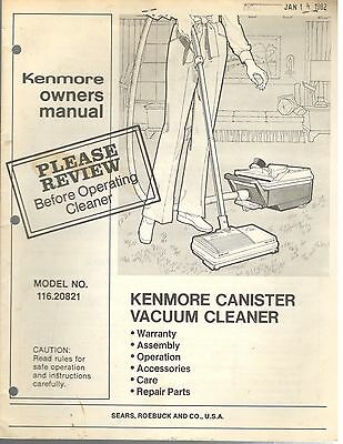 Vintage 1980s Kenmore Canister Vacuum Cleaner Model 116.20821 Owners Manual