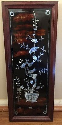 Vintage Asian Oriental Lacquer Wood Abalone Mother Of Pearl Bird Last Listing!