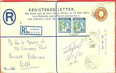 Jamaica Stationary Registered Envelope Up-rated cover to USA