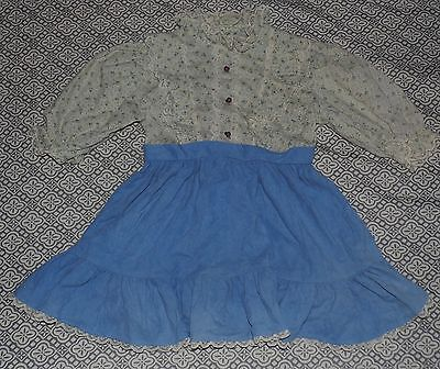 Size 4 Hand Made Vintage Prairie Style Blue Floral Lace Trim Long Sleeve Dress