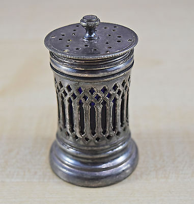 Vintage Old Ornate Silver Plate Pepper Pot With Cobalt Blue Glass Liner