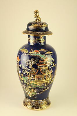 Vtg Carlton Ware Porcelain China Mikado Enameled Ginger Jar Lidded Urn Vase 2364