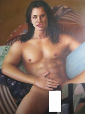 """Naked Man -- Nude Male -- Original Oil Painting --  20"""" X 24"""""""