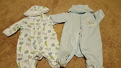 2 One Piece Newborn Pajamas from Little Me Long Sleeve