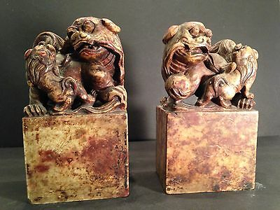 Antique 19th c large pair of Chinese soapstone table seals foo dog lion