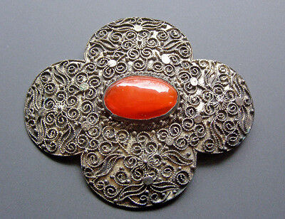 Vintage large Chinese Import Silver Tone Ornate Clover Carnelian Orange Brooch