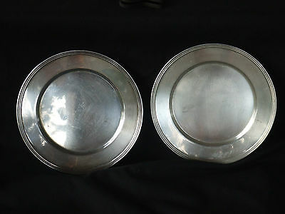 Set of Two National Silver on Copper Bread/Dessert/Salad Plates