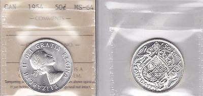 1954 ICCS MS64 50 cents Canada fifty half dollar silver