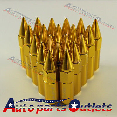 Gold 20PCS M12X1.5 Cap Spiked Extended Tuner 60mm Aluminum Wheels Rims Lug Nuts
