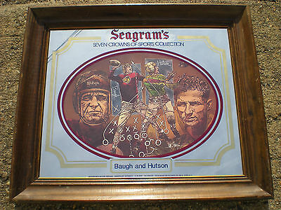 Genuine 1970s Vintage Seagrams Football Sammy Baugh & Hutson Beer Sign Mirror