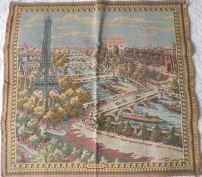Vintage Woven Tapestry Made In France Paris Scene Eiffel Tower Arc De Triomphe