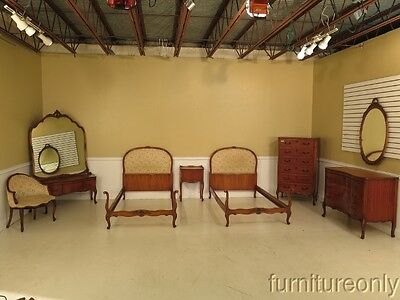 F28276E:  BATESVILLE Vintage 8 Piece French Satinwood Twin Size Bedroom Set