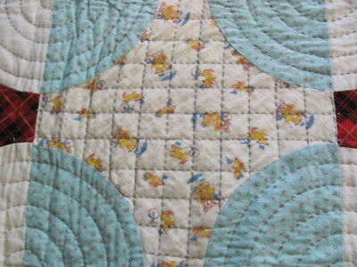 Vintage cotton flannel Snowball Mill Wheel hand quilted quilt