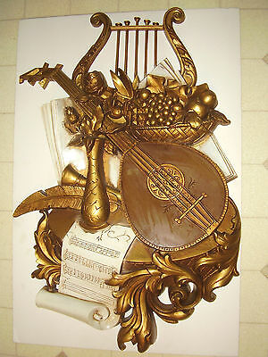 Homco Large Musical Instrument Wall Plaque