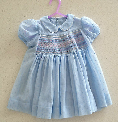 Vintage 1970/80 Toddler's Dress - Robia Voile & Smoking - Very Full - As New