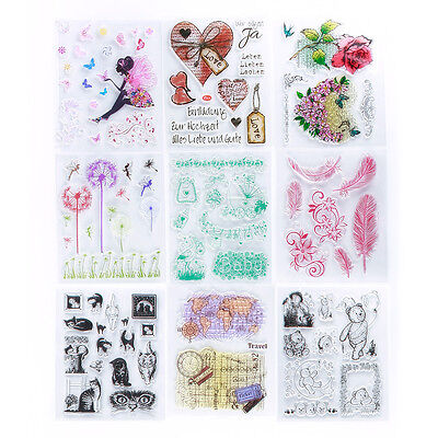 Many Patterns Large Transparent Rubber Stamp Seal Craft Scrapbooking Decor GIft