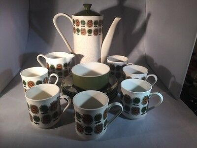 1968 Lord Nelson Pottery Retro Green & Brown Floral Tea Set Cup Saucer Teapot