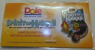 New Dole Spirit Of Hawaii 2017 Rose Parade Pin Limited Edition